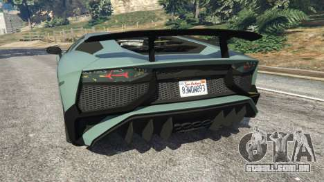 GTA 5 Lamborghini Aventador Super Veloce v0.2 traseira vista lateral esquerda