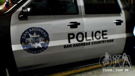 GTA 5 Police Ranger para GTA San Andreas vista direita