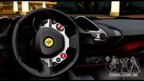 Ferrari 488 GTB 2016 para GTA San Andreas vista interior