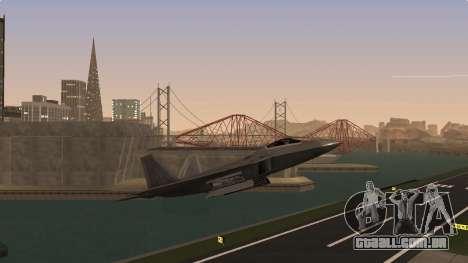 F-22 Raptor PJ para GTA San Andreas traseira esquerda vista