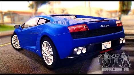 Lamborghini Gallardo LP560 para GTA San Andreas esquerda vista