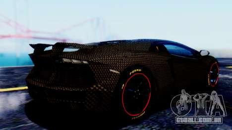 Lamborghini Aventador Mansory Carbonado para GTA San Andreas esquerda vista