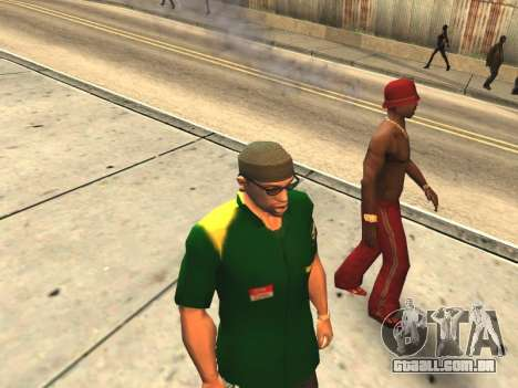 Casais boca CJ ya e transeuntes para GTA San Andreas por diante tela