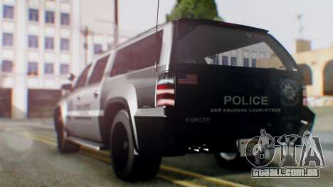 GTA 5 Police Ranger para GTA San Andreas traseira esquerda vista