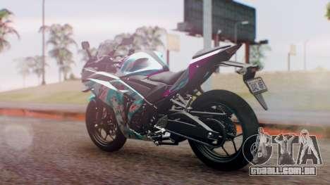 Yamaha R25 2015 EV Mirai Miku Racing 2013 para GTA San Andreas esquerda vista