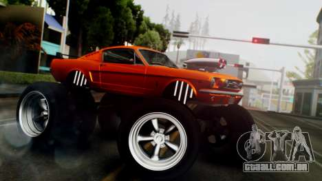 Ford Mustang 1966 Chrome Edition v2 Monster para GTA San Andreas traseira esquerda vista