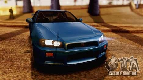 Nissan Skyline GT-R R34 V-spec 1999 para GTA San Andreas vista direita