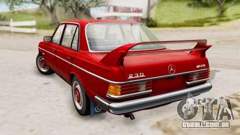 Mercedes-Benz 230E AMG 3.2 1982 Evolution Mod para GTA San Andreas esquerda vista