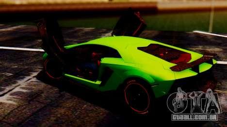 Lamborghini Aventador Mansory para GTA San Andreas traseira esquerda vista