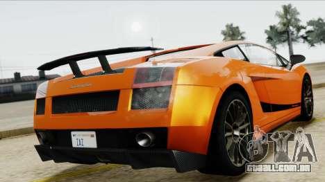 Lamborghini Gallardo Superleggera para GTA San Andreas vista traseira
