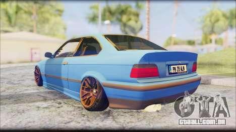 BMW M3 E36 Stanced-Hella para GTA San Andreas traseira esquerda vista