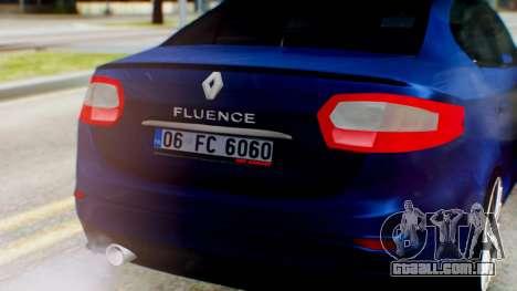 Renault Fluence King para GTA San Andreas vista traseira