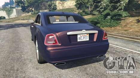 GTA 5 Rolls Royce Ghost 2014 v1.2 traseira vista lateral esquerda