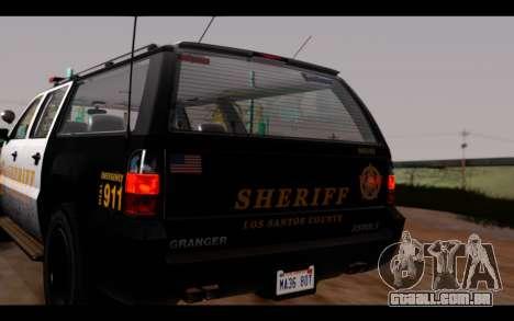 GTA 5 Declasse Sheriff Granger IVF para GTA San Andreas vista traseira