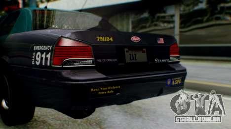 GTA 5 Vapid Stanier II Police IVF para GTA San Andreas vista interior