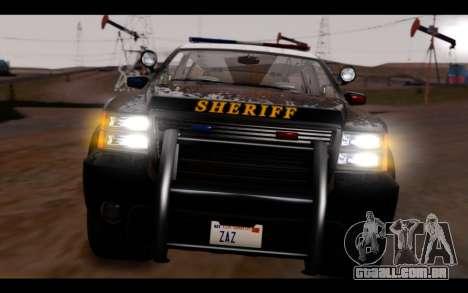 GTA 5 Declasse Sheriff Granger IVF para GTA San Andreas vista interior