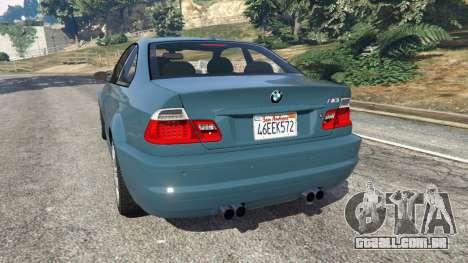 GTA 5 BMW M3 (E46) 2005 traseira vista lateral esquerda