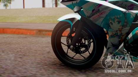 Yamaha R25 2015 EV Mirai Miku Racing 2013 para GTA San Andreas traseira esquerda vista