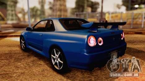 Nissan Skyline GT-R R34 V-spec 1999 para GTA San Andreas esquerda vista