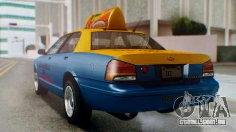 Vapid Taxi with Livery para GTA San Andreas esquerda vista