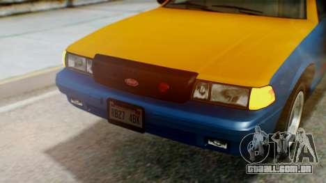 Vapid Taxi with Livery para GTA San Andreas vista interior