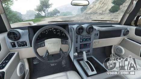 GTA 5 Hummer H2 2005 [tinted] traseira direita vista lateral