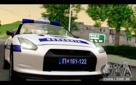 Nissan GT-R Policija para GTA San Andreas traseira esquerda vista