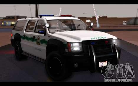 GTA 5 Declasse Sheriff Granger IVF para GTA San Andreas vista superior