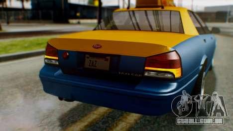 Vapid Taxi para GTA San Andreas vista superior
