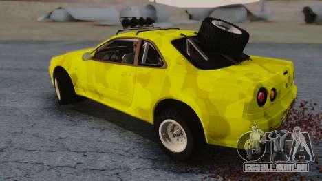 Nissan Skyline R34 Rusty Rebel para GTA San Andreas traseira esquerda vista