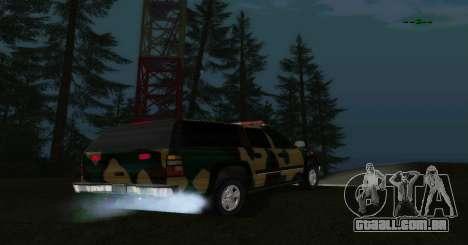 Chevrolet Exterior Camuflagem para GTA San Andreas traseira esquerda vista