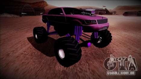 GTA 4 Washington Monster Truck para GTA San Andreas traseira esquerda vista