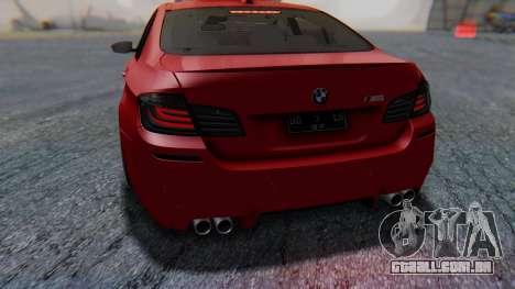 BMW M5 2012 Stance Edition para GTA San Andreas interior