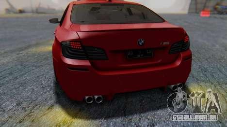 BMW M5 2012 Stance Edition para GTA San Andreas vista inferior
