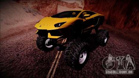 Lamborghini Aventador Monster Truck para GTA San Andreas esquerda vista