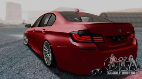 BMW M5 2012 Stance Edition para GTA San Andreas traseira esquerda vista