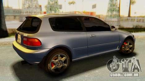 Honda Civic Vti 1994 V1.0 IVF para GTA San Andreas esquerda vista