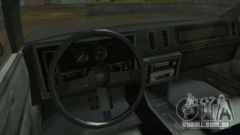 Willard Majestic para GTA San Andreas vista interior