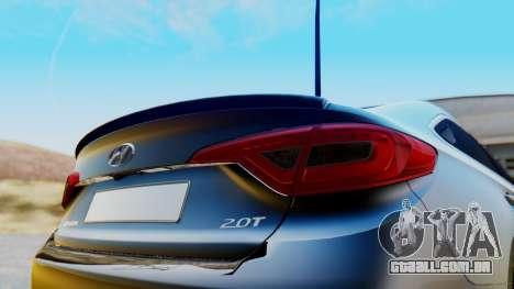 Hyundai Sonata Turbo 2015 para GTA San Andreas vista traseira