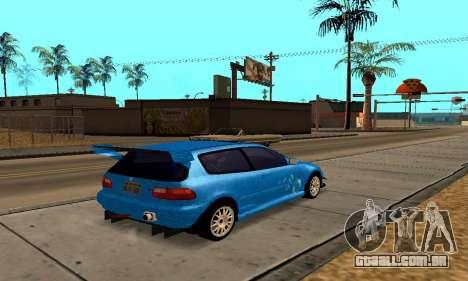 Honda Civic EG6 Tunable para GTA San Andreas vista interior