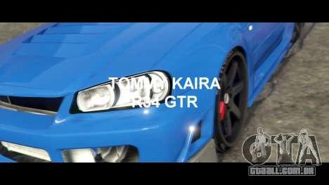 GTA 5 Nissan Skyline R34 Tommy Kaira traseira direita vista lateral