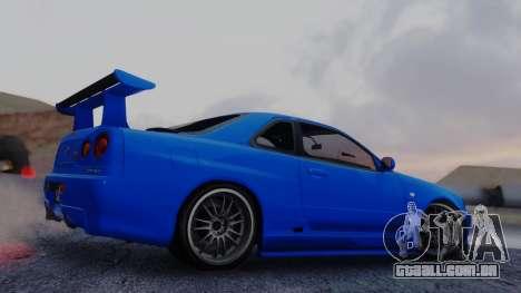 Nissan Skyline R34 Full Tuning para GTA San Andreas esquerda vista