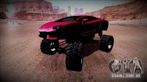 Lamborghini Aventador Monster Truck para GTA San Andreas vista interior