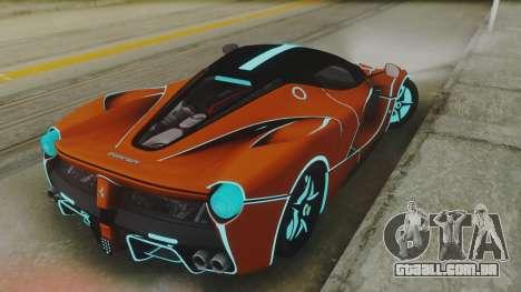 Ferrari LaFerrari TRON Edition v1.0 para GTA San Andreas traseira esquerda vista