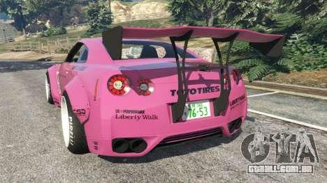 GTA 5 Nissan GT-R (R35) [LibertyWalk] v1.1 traseira vista lateral esquerda