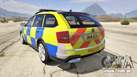 GTA 5 2014 Police Skoda Octavia VRS Estate traseira vista lateral esquerda