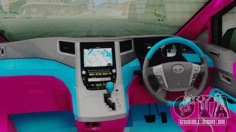 Toyota Vellfire Miku Pocky Exhaust para GTA San Andreas vista traseira