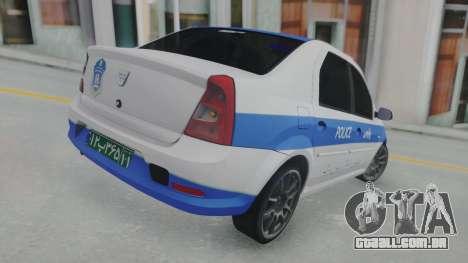 Dacia Logan Iranian Police para GTA San Andreas traseira esquerda vista