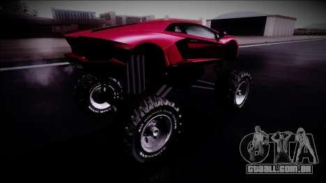 Lamborghini Aventador Monster Truck para GTA San Andreas traseira esquerda vista