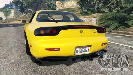 GTA 5 Mazda RX-7 FD3S Stanced [without camber] v1.1 traseira vista lateral esquerda